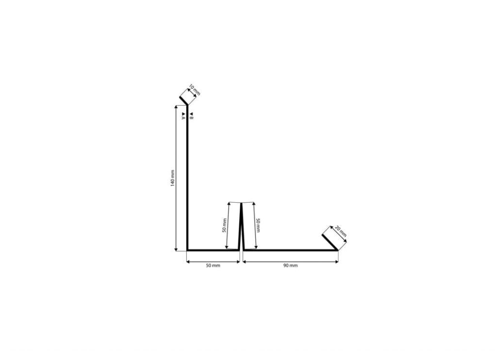 Boční lem komín s vodní drážkou řez